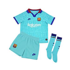Equipación Nike 3a Barcelona niño 2019 2020 - Kit niño Nike tercera equipación FC Barcelona 2019 2020 - verde turquesa - frontal