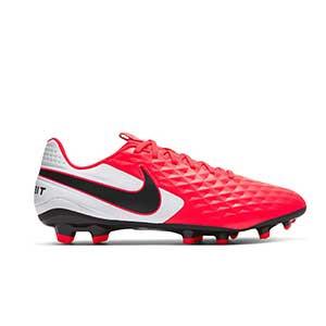 Nike Tiempo Legend 8 Academy FG - Botas de fútbol de piel Nike FG para césped natural o artificial de última generación - rosas y blancas - pie derecho