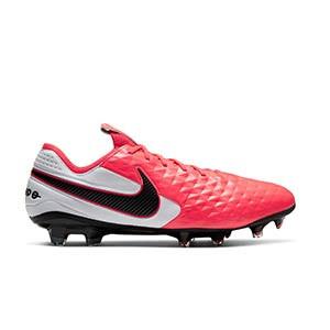 Nike Tiempo Legend 8 Elite FG - Botas de fútbol de piel de canguro Nike FG para césped natural o artificial de última generación - rosas y blancas - pie derecho