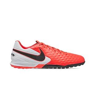 Nike Tiempo Legend 8 Academy IC Jr - Zapatillas de fútbol sala de piel para niño Nike con suela lisa IC - rosas y blancas - pie derecho