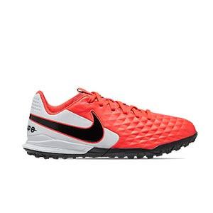 Nike Tiempo Legend 8 Academy TF Jr - Zapatillas de fútbol multitaco de piel para niño Nike con suela turf - rosas y blancas - pie derecho