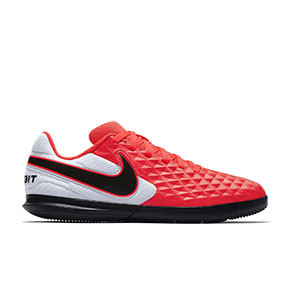 Nike Tiempo Legend 8 Club IC Jr - Zapatillas de fútbol sala para niño Nike con suela lisa IC - rosas y blancas - pie derecho