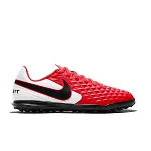 Nike Tiempo Legend 8 Club TF Jr - Zapatillas de fútbol multitaco para niño Nike con suela turf - rosas y blancas - pie derecho