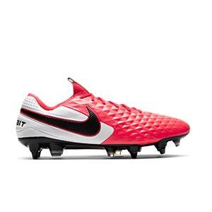 Nike Tiempo Legend 8 Elite SG-PRO AC - Botas de fútbol de piel de canguro Nike SG-PRO AC para césped natural blando - rosas y blancas - pie derecho