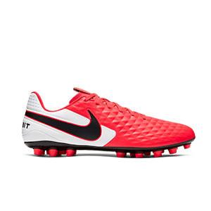 Nike Tiempo Legend 8 Academy AG - Botas de fútbol de piel Nike AG para césped artificial - rosas y blancas - pie derecho
