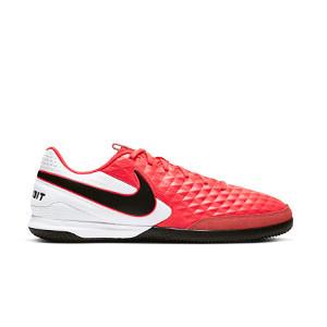 Nike Tiempo Legend 8 Academy IC - Zapatillas de fútbol sala de piel Nike con suela lisa IC - rosas y blancas - pie derecho