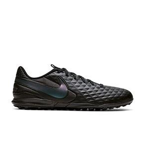 Nike Tiempo Legend 8 Academy TF - Zapatillas de fútbol multitaco Nike de piel FootballX con suela turf - negras - pie derecho