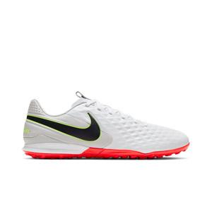 Nike Tiempo Legend 8 Academy TF - Zapatillas de fútbol multitaco Nike de piel con suela turf - blancas y grises - pie derecho