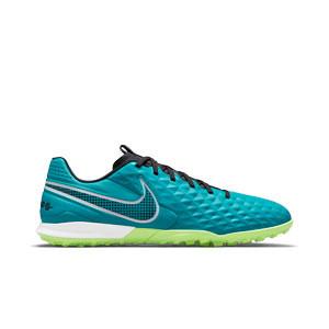 Nike Tiempo Legend 8 Academy TF - Zapatillas de fútbol multitaco Nike de piel con suela turf - verde azulado - pie derecho