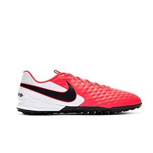 Nike Tiempo Legend 8 Academy TF - Zapatillas de fútbol multitaco de piel Nike con suela turf - rosas y blancas - pie derecho