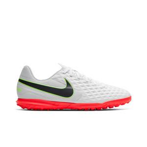Nike Tiempo Legend 8 Club TF - Zapatillas de fútbol multitaco Nike Football con suela turf - blancas y grises - pie derecho