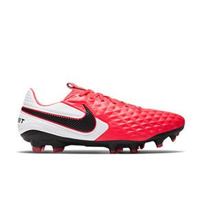 Nike Tiempo Legend 8 Pro FG - Botas de fútbol de piel Nike FG para césped natural o artificial de última generación - rosas y blancas - pie derecho