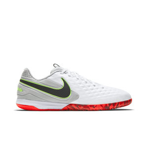 Nike Tiempo React Legend 8 Pro IC - Zapatillas de fútbol sala Nike de piel Football con suela lisa IC - blancas y grises - pie derecho