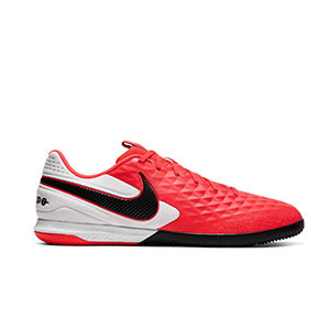 Nike Tiempo React Legend 8 Pro IC - Zapatillas de fútbol sala de piel Nike con suela lisa IC - rosas y blancas - pie derecho