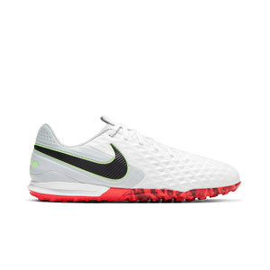 Nike Tiempo Legend 8 Pro TF - Zapatillas de fútbol multitaco Nike de piel con suela turf - blancas y grises - pie derecho