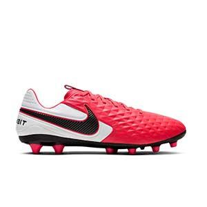 Nike Tiempo Legend 8 Pro AG-PRO - Botas de fútbol de piel Nike AG-PRO para césped artificial - rosas y blancas - pie derecho