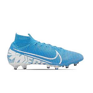 Nike Mercurial Superfly 7 Elite AG-PRO - Botas de fútbol con tobillera Nike AG-PRO para césped artificial - azul celeste - pie derecho