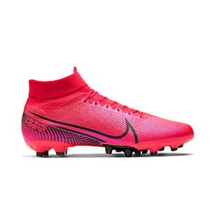 Nike Mercurial Superfly 7 Pro AG-PRO - Botas de fútbol con tobillera Nike AG-PRO para césped artificial - rosas - pie derecho