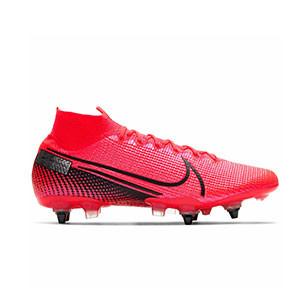 Nike Mercurial Superfly 7 Elite SG-PRO AC - Botas de fútbol con tobillera Nike SG-PRO con tacos de aluminio para césped natural blando - rosas - pie derecho
