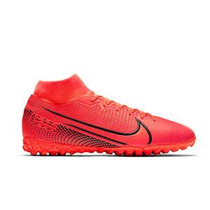 Nike Mercurial Superfly 7 Academy TF - Zapatillas multitaco con tobillera Nike suela turf - rosas - pie derecho