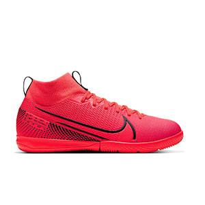 Nike Mercurial Superfly 7 Academy IC Jr - Zapatillas fútbol sala para niño con tobillera Nike suela lisa IC - rosas - pie derecho