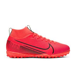 Nike Mercurial Superfly 7 Academy TF Jr - Zapatillas multitaco infantiles con tobillera Nike suela turf - rosas - pie derecho