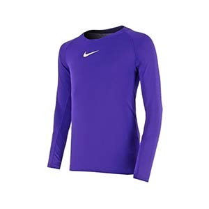 Camiseta interior térmica Nike Dri-Fit Park niño - Camiseta interior compresiva infantil manga larga Nike - morada - frontal