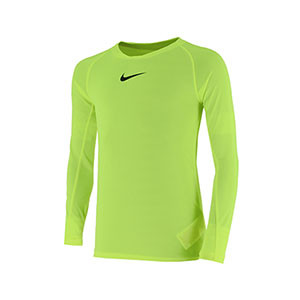 Camiseta interior térmica Nike Dri-Fit Park niño - Camiseta interior compresiva infantil manga larga Nike - verde lima - frontal