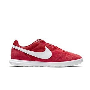 Nike Premier 2 Sala - Zapatillas de fútbol sala de piel Nike suela lisa IC - rojas - pie derecho