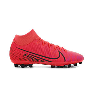 Nike Mercurial Superfly 7 Academy AG - Botas de fútbol con tobillera Nike AG para césped artificial - rosas - pie derecho