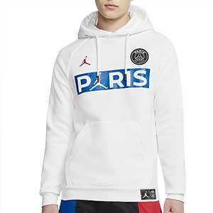 Sudadera Nike PSG x Jordan Jumpman Fleece - Sudadera con capucha Nike x Jordan del París Saint Germain 2019 2020 - blanca - frontal