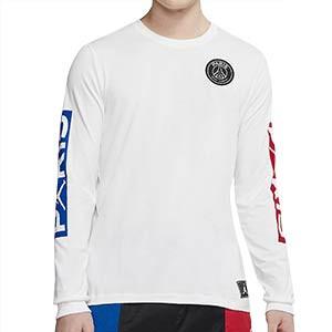 Camiseta manga larga Nike PSG x Jordan - Camiseta de algodón de manga larga Nike x Jordan del París Saint Germain 2019 2020 - blanca - frontal