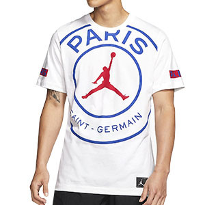 Camiseta algodón Nike PSG x Jordan Logo - Camiseta de algodón Nike x Jordan del París Saint Germain 2019 2020 - blanca - frontal