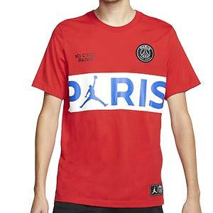 Camiseta algodón Nike PSG x Jordan - Camiseta de algodón Nike x Jordan del París Saint Germain 2019 2020 - roja - frontal