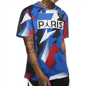 Camiseta de malla Nike PSG x Jordan Mesh - Camiseta de malla Nike x Jordan del París Saint Germain 2019 2020 - azul - frontal