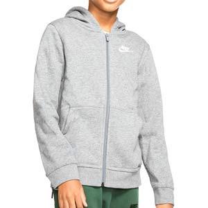 Sudadera Nike Sportswear Hoodie Club niño - Sudadera con capucha infantil de algodón Nike - gris - frontal