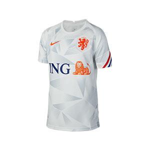 Camiseta Nike Holanda pre-match niño 2020 2021 - Camiseta pre partido infantil Nike selección holandesa 2020 2021 - blanca - frontal