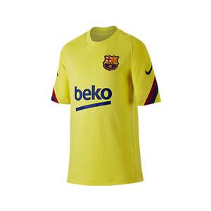 Camiseta Nike Barcelona niño entreno 19 2020 Strike - Camiseta manga corta infantil de entrenamiento FC Barcelona 2019 2020 - amarilla - frontal