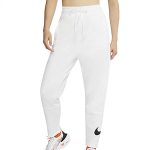 Pantalón Nike Swoosh mujer - Pantalalón largo de algodón para mujer Nike - blanco - frontal