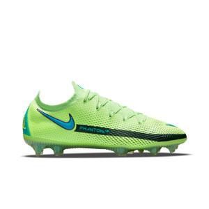 Nike Phantom GT Elite FG - Botas de fútbol Nike FG para césped natural o artificial de última generación - verdes lima - derecho
