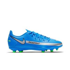 Nike Jr Phantom GT Club FG/MG - Botas de fútbol infantiles Nike FG/MG para césped artificial - azules, plateadas, verdes, negras - pie derecho