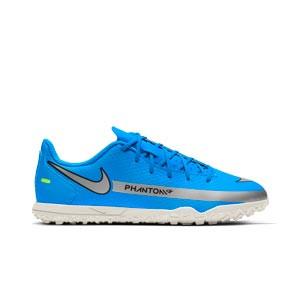 Nike Jr Phantom GT Club TF - Zapatillas de fútbol multitaco infantiles Nike suela turf - azules, plateadas, verdes, negras - pie derecho