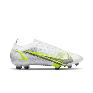 Nike Mercurial Vapor 14 Elite FG - Botas de fútbol Nike FG para césped natural o artificial de última generación - blancas y plateadas - pie derecho