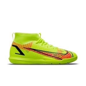 Nike Mercurial Jr Superfly 8 Academy IC - Zapatillas de fútbol sala infantiles con tobillera de Cristiano Ronaldo Nike suela lisa IC - amarillas flúor, rojas