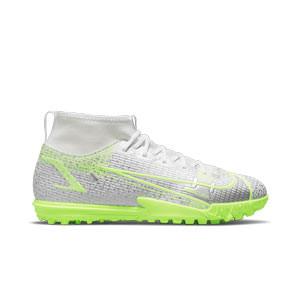 Nike Mercurial Jr Superfly 8 Academy TF - Zapatillas de fútbol multitaco con tobillera para niño Nike suela turf - blancas y plateadas - pie derecho