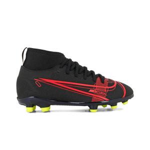 Nike Mercurial Jr Superfly 8 Club FG/MG - Botas de fútbol infantiles con tobillera Nike MG para césped artificial - negro - pie derecho