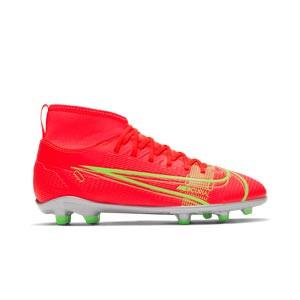 Nike Mercurial Jr Superfly 8 Club FG/MG - Botas de fútbol infantiles con tobillera Nike MG para césped artificial - rosa rojizas, plateadas, azul moradas - pie derecho