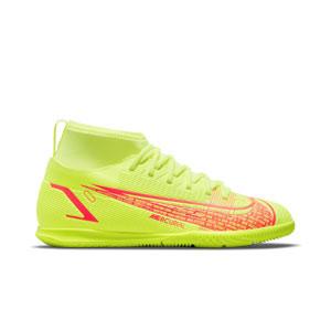 Nike Mercurial Jr Superfly 8 Club IC - Zapatillas de fútbol sala infantiles con tobillera Nike suela lisa IC - amarillas flúor, rojas