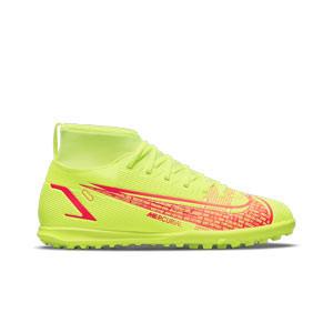Nike Mercurial Jr Superfly 8 Club TF - Zapatillas de fútbol multitaco infantiles con tobillera Nike suela turf - amarillas flúor, rojas