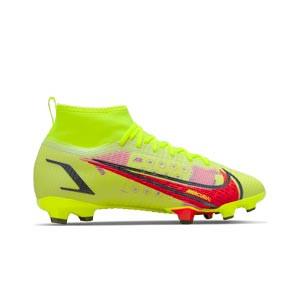 Nike Mercurial Jr Superfly 8 Pro FG - Botas de fútbol infantiles Nike FG para césped natural o artificial de última generación - amarillas flúor, rojas